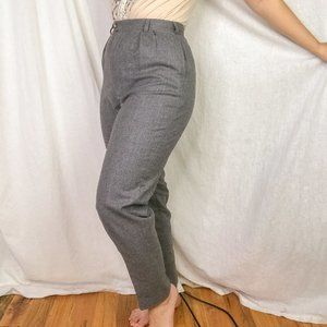 90s Vintage grey high rise pleated trousers slim